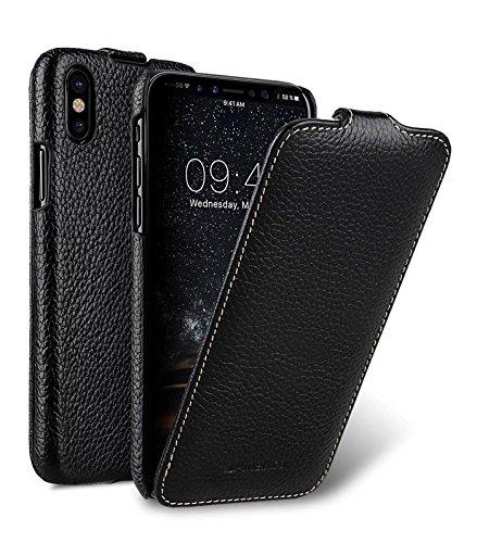 Edle Tasche für Apple iPhone XS & iPhone X / Hülle Außenseite aus beschichtetem Leder / Schutz-Hülle aufklappbar / Flip-Hülle / Etui / ultra-slim / Cover Innenseite aus Textil / Schwarz