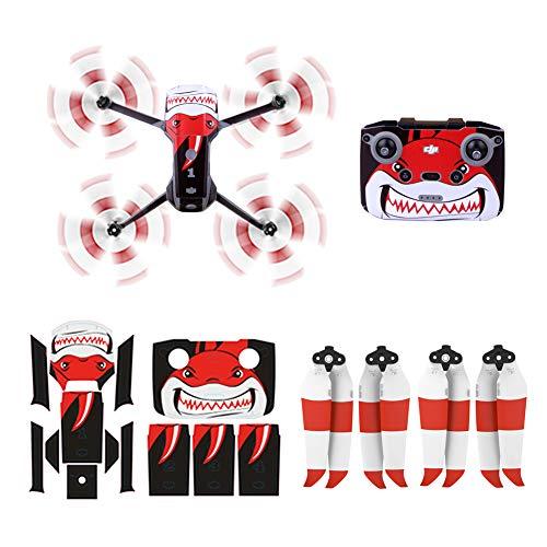 O'woda Mavic Air 2S Eliche 2 Coppie + 1 Set Adesivi per Drone Body e Telecomando per DJI Mavic Air 2S/ Mavic Air 2 Accessori (Colorate a Doppia Faccia-Rosso Bianco)