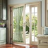 Sheer Door Curtain with Leaf Embroidered Design for Glass Door French Door Panel Rod Pocket 1 Panel 72' L Sage