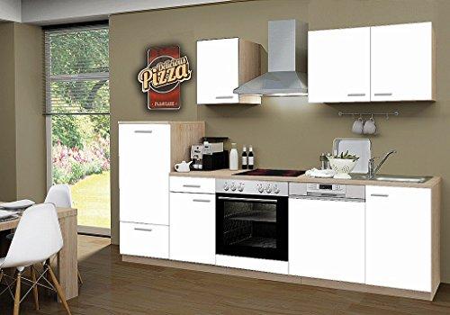 idealShopping Küchenblock mit Geschirrspüler und Ceranfeld Classic 270 cm in weiß