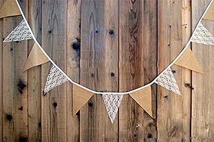 Hosaire Guirlande Bannière Banderole en Coton Motif de Dentelle Guirlande de Fanions Décor pour Fête de Mariage Anniversaire Noël (Colour -1)