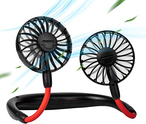 Portable Hanging Neck Fan Sports, Hands Free USB Rechargeable Personal Wearable Neckband Fan, 2000mAh Battery Operated with 3 Level Air Flow Headphone Design Cooling Head Fan Mini Necklace Fan for office