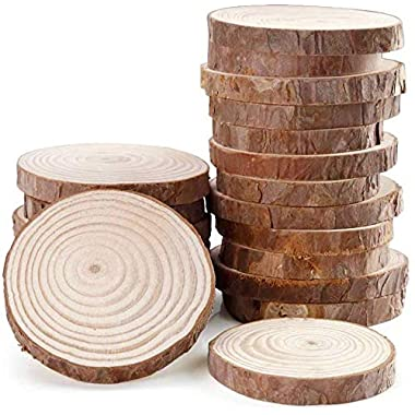 Fuhaieec 15pcs 3.5 -4  Unfinished Natural Wood Slices Circles with Tree Bark Log Discs for DIY Craft Rustic Wedding Ornaments