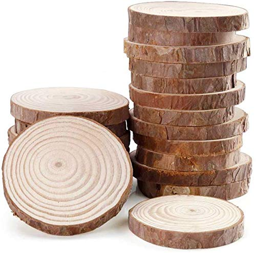 "Fuhaieec 15pcs 3.5""-4"" Unfinished Natural Wood Slices Circles with Tree Bark Log Discs for DIY Craft Rustic Wedding Ornaments"