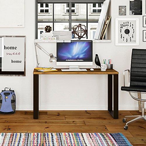 hogar24-mesa étude bureau en bois massif naturel et pieds en acier, dimensions : 118 x 55 x 74 cm style industriel pour utilisation comme bureau, bureau, Réunion