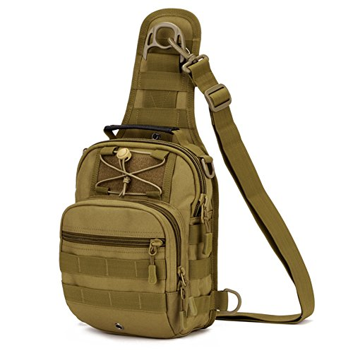 Huntvp Tactical Molle Sling Chest Pack Laptop Daypack Military Mini Daysack Backpack for Outdoors Sports Brown