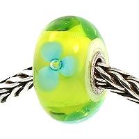 Trollbeads オーセンティックガラス 61322 ターコイズフラワー