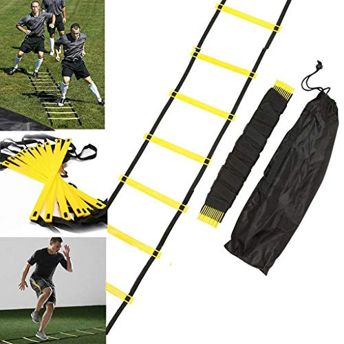 Fine Agility Training Ladder,Fixed-Rung Speed Ladder 13 Rung Agility Ladder Speed Ladder Training Ladder for Soccer, Speed, Football Fitness Feet Training with Carry Bag (Yellow)