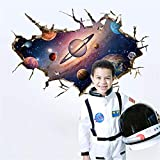 manyaxiaopu Creativo Staccabile Impermeabile 3D Spazio Astronauta Camera dei Bambini Camera da Letto Soggiorno Portico Adesivi Murali Decorativi 60X90Cm
