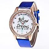 Zhou Lianfa Zalora Ebay.Reloj para Mujer F-615 Correa De Cocodrilo,Azul,Un tamaño