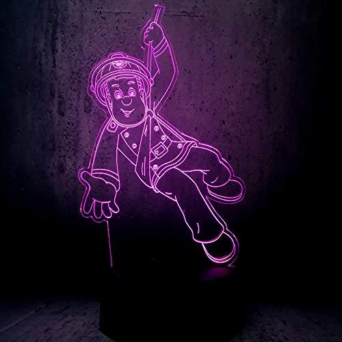 3D Illusion Nuit Lumière Led Veilleuse Lampe,Pompier De Dessin Animé Optiques Illusions Lampe 7 Couleur Tactile Lampe Art Décor Pour Chambre Chevet Table Enfants Cadeau Noël Fête Anniversaire