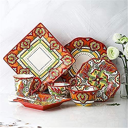 Juego de Platos, 6 PCS Conjuntos de vajilla para 2 personas, vajilla de porcelana de estilo europeo Conjunto con placa redonda / placa cuadrada, cena de cerámica roja para casa cocina y comedor, caja