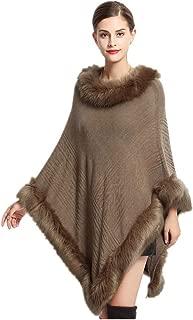 Women Woolen Poncho Pullover with Faux Rabbit Fur Trim Fur Wrap Shawl Autumn Spring Autumn