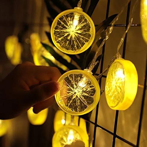 MQIQI Lemon Slice Lichter Seil-Schnur-Fee 3m 20 LEDs Batteriebetriebene Lime Lichter Dekorationen for Patio Zaun Deck Balkon Camping - Batterien Nicht Enthalten [Energieklasse A +] (Color : Yellow)