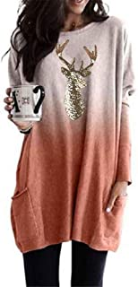Hapeisy Women Christmas Plus Size Long T-Shirt Short Sleeve Deer Printed Round Neck Loose Fashion New Mini Dress Tops with...