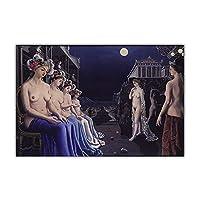 ポールデルヴォーキャンバス油絵シュルレアリスムポスタープリント古典的な図壁の絵抽象的な壁の芸術リビングルームの寝室の装飾40x80cmフレームなし