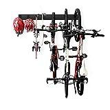 Wallmaster Bike Rack Wall Mount, Bike Storage Rack Bike Holder Garage Storage Space Saver 3 Bike Hanger&3Rails&2 Helmets Hooks&2 Skateboard Hangers
