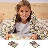 BANBALOO- Manta pesada reversible para niños y adolescentes. Kit Manta ponderada adaptable al cuerpo y funda de almohada/Cubierta lavable opcional. Edredón de gravedad sensorial para mejorar el sueño.