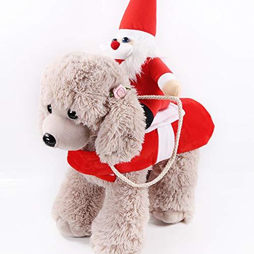 AchidistviQ Disfraces De Navidad para Perros Y Gatos, Divertido Disfraz De Reno De Pap Noel para Invierno, Fiesta De Ao Nuevo, Suministros para Mascotas Santa Rojo L
