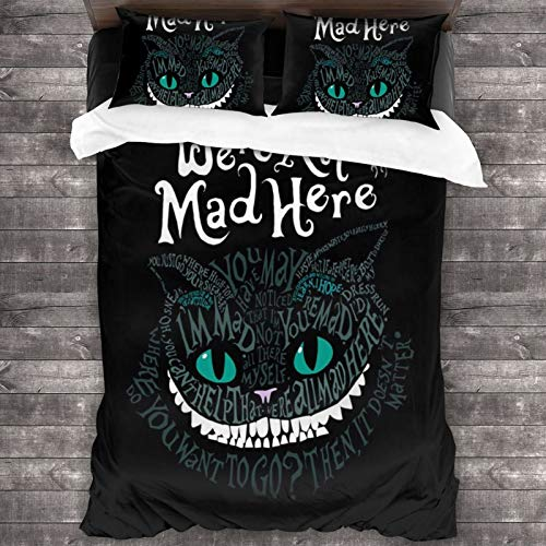 Cheshire Faced Cat 3-Piece Bedding Set 86'X70' Soft Cozy Warm Throw Lightweight Comforter Full Bed Sets Comfy Microfiber with 2 Pillowcase