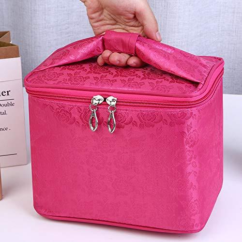 Portable Grand Dessin animé étanche Sac carré Sac cosmétique Maquillage boîte 25 * 26 * 18 CM Grande Portable Rose Rouge Rose Fleur