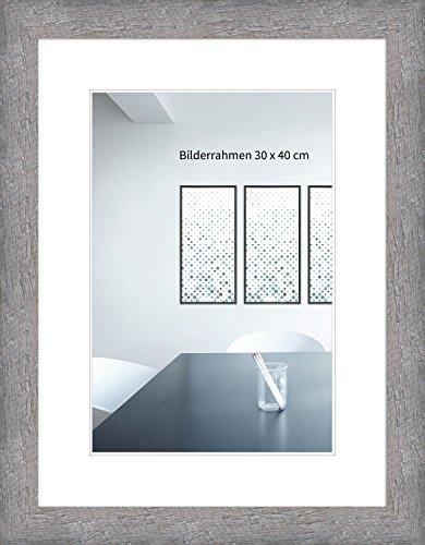 WANDStyle Bilderrahmen Strandhaus Stil 30x42cm DIN A3 I Farbe: Grau I Fotorahmen I rustikaler Holzbilderrahmen Landhaus Stil I Made in Germany I H750