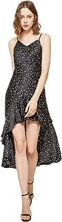 Linsis Women V-Neck Boho Polka-Dot Dresses Sleeveless Halter Neck Sexy Sundress Puffy Swing Casual Party Dress.