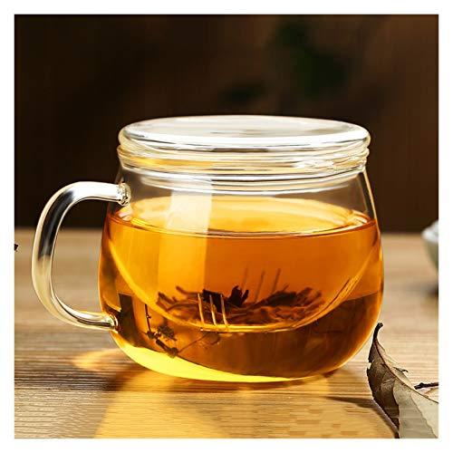 YSJJQSC Taza de Agua HABLICACIÓN DURATORIA 3 en 1 Set 350 ml Taza de café Resistente al Calor Transparente de 350 ml con el té de la Tapa del Filtro del infusor de té para la Oficina en casa e