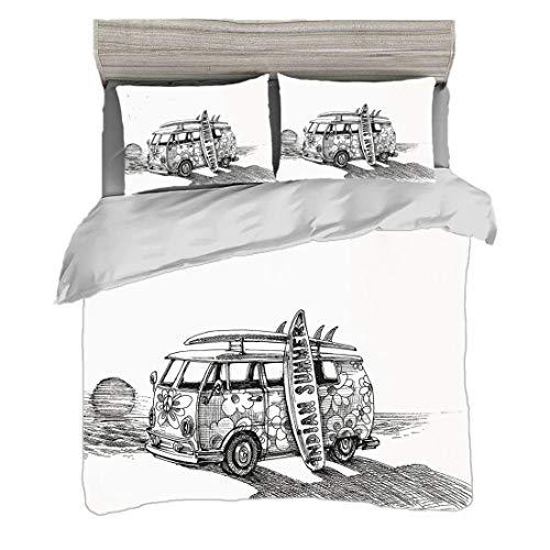 Funda nórdica Tamaño doble (150 x 200 cm) con 2 fundas de almohada Incompleto Juegos de cama de microfibra Caluroso verano californiano Surf Vintage Car Sea Shore Beach Art,negro blanco y gris carbón