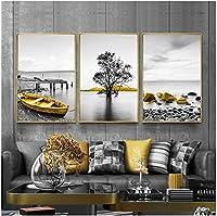 キャンバスポスター現代の海の風景キャンバスプリントポスターツリーボートの壁の写真リビングルームのスプレー絵画キャンバスポスター3個60x80cmフレームなし