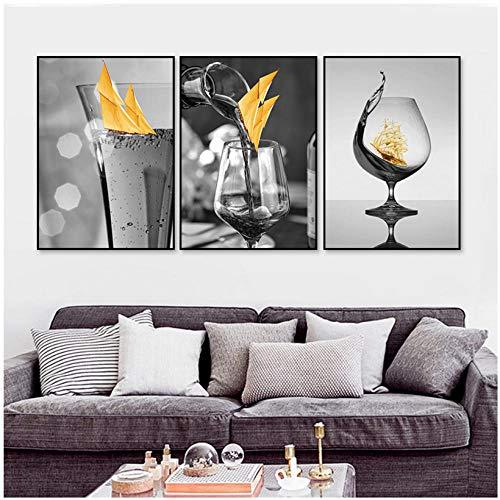 Wenjing Modern zwart wijnglas met boot muurkunst canvas schilderij afbeeldingen posters en prints galerij eetkamer Home Decorations 40 x 60 cm x 3 stuks geen lijst