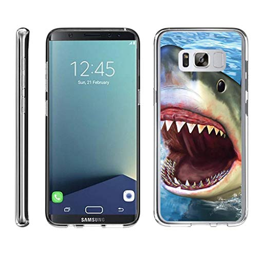 TurtleArmor   Compatible with Samsung Galaxy S8+ Case   S8 Plus Case   G955 [Flexible Armor] Ultra Slim Compact Flexible TPU Case Fitted Soft Bumper Cover Animal - Shark Attack