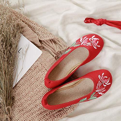 Tluhepa Zapatos Pisos Zapatos del Resorte Pequeña Pendiente con Los Zapatos De Tacón Bajo Bordado Zapatos del Estilo De Las Antiguas Mujeres Damas Estilo Chino Mary Jane Zapatos