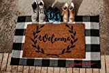 Scarlett Arrow Outdoor Rug 28 x 43 Inches - Large Black & White Buffalo Checkered Floor Mat for Porch, Front Door, Kitchen & Bathroom - Washable Thick Plaid Hand-Woven Fabric - Trendy Home Decor