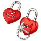 Romantisches Liebesschloss Herz mit Laser-Gravur und Geschenk-Etui