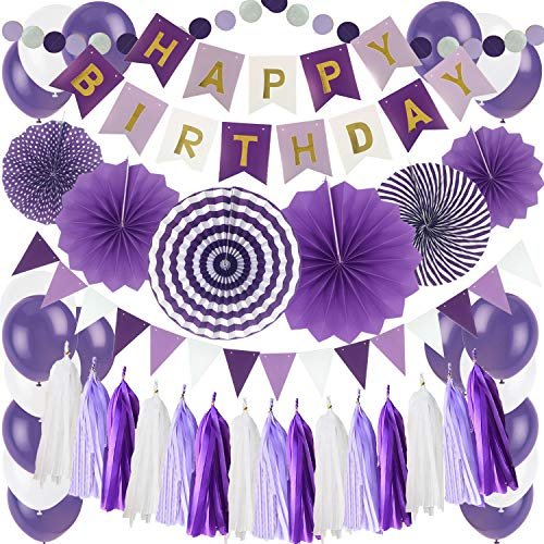 Zerodeco Birthday Party Decoration, Purple Happy Birthday Banner with Paper Fans Garland String Triangle Bunting Flag Tissue Tassel and Balloon for Bday Party Supplies Anniversary Decoration