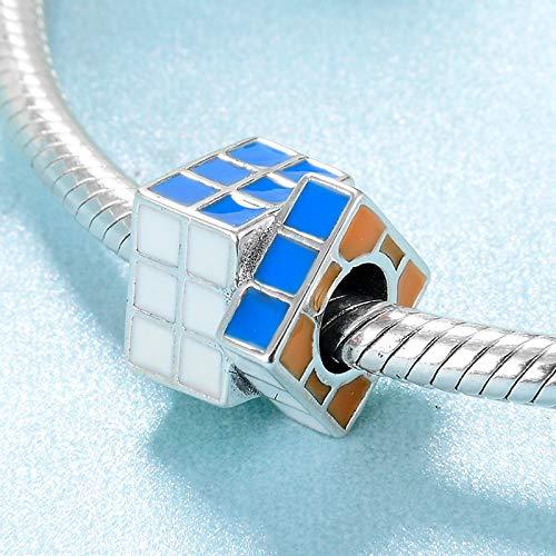 DASFF Le Cube de Perles de Rubik de la Mode 925 en Argent Sterling Rainbow Fit Original Charms Bracelet Making Making