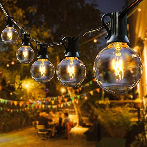 Lichterkette Außen, IREGRO Lichterkette Glühbirnen Außen, Outdoor Lichterkette, 12.8 Meter, 40er Birnen, Warmweiß, Wasserdicht IP44, für Garten, Innen Draussen, Party, Festival