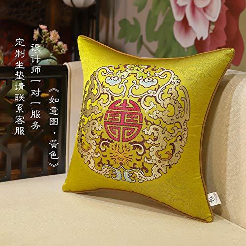 Clásico nuevo estilo chino sofá de sala de estar grande cojín funda de cojín Simple estilo chino almuerzo descanso almohada lumbar mochila-50x50 (funda de almohada)_Como se pretendía'amarillo'