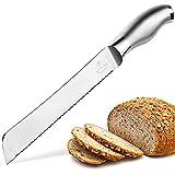 Zulay Cuchillo de pan serrado de 8 pulgadas, hoja ultra afilada y duradera para cortar fácilmente, diseño ligero de acero inoxidable 304 de una pieza con protector de seguridad de punta, cortar y cortar pan, verduras y más
