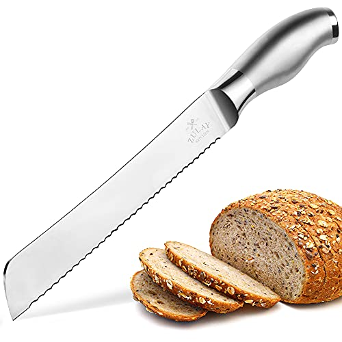 Zulay Serrated Bread Knife 8 inch - Ultra-Sharp & Durable Blade For Easy Slicing - Lightweight 304 Stainless Steel One Piece Design with Tip Safety Guard - Cut & Slice Bread, Vegetables & More