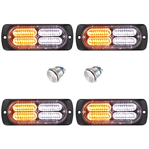 4-Pack Surface Mount and Grille Flashing Warning Amber White LED Strobe Lights for Trucks Plow Tractors Construction Vehicles, WOWTOU 12V 24V Car Exterior Safety Emergency Flasher