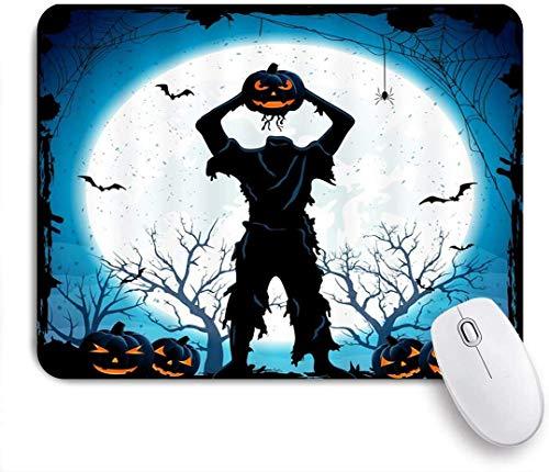Mauspad, Horror Halloween Toter Mann Zombie Mit Kürbis Laterne Kopf Fledermaus Spinne Hölle Dark Scary Fiction Szene, 9,5 X 7,9In