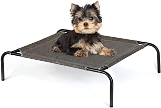 HAITRAL Elevated Pet Bed - Small Pet Cot for Dogs Cats Outdoor Indoor Camping Raised Cot -27 x 21 x 7 Inches-Grey/Green/Brown