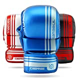 Sanabul Core 7 oz Hybrid Gloves (Blue/Silver, L/XL)