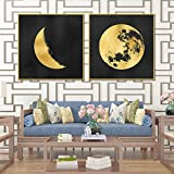 Impresión de arte de pared de lienzo Retro dorado clásico lienzo nórdico póster Luna imagen minimalista para sala de estar decoración del hogar-60x60cmx2 sin marco