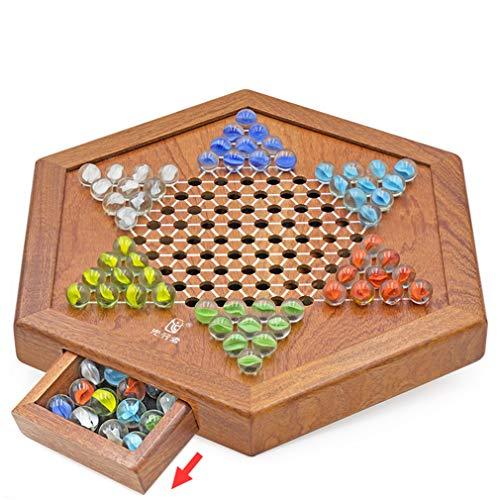 QWEA Checkers Wooden Drawer Checkerboard Sechseckiges Puzzle-Spiel mit konkaven Sprüngen. Enthält 60 Glasperlen in 6 Farben. All Ages Klassisches Strategiespiel für bis zu sechs Spieler