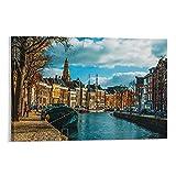 DHNBHJUGY Canal of Groningen Poster, dekoratives Gemälde,