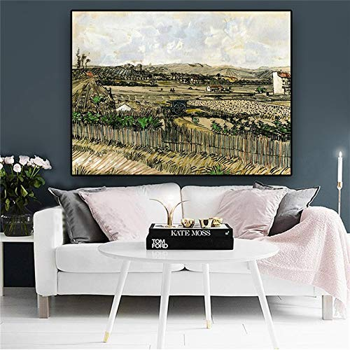 wZUN Cosecha provenzal. Montmartre a la Izquierda. Pintura al óleo de Jovan Van Gogh sobre Lienzo. Póster y Grabado. Fotomural salón 60x80cm