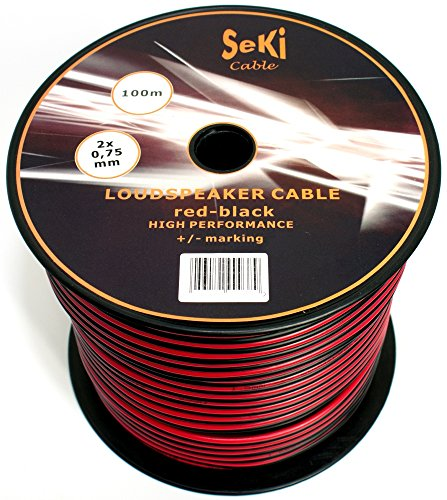 Luidsprekerkabel 2 x 0,75 mm2 - audiokabel - boxkabel 0,75mm2-100m rood-zwart